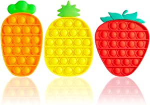 Kabvry 3 Pack Pop Bubble Sensory Fidget Fruit Toys, Push it Fidget Toys, Special Needs Stress Reliever Anxiety Relief,Squeeze Sensory Toy for Kids Adults (Pineapple/Carrot/Strawberry )