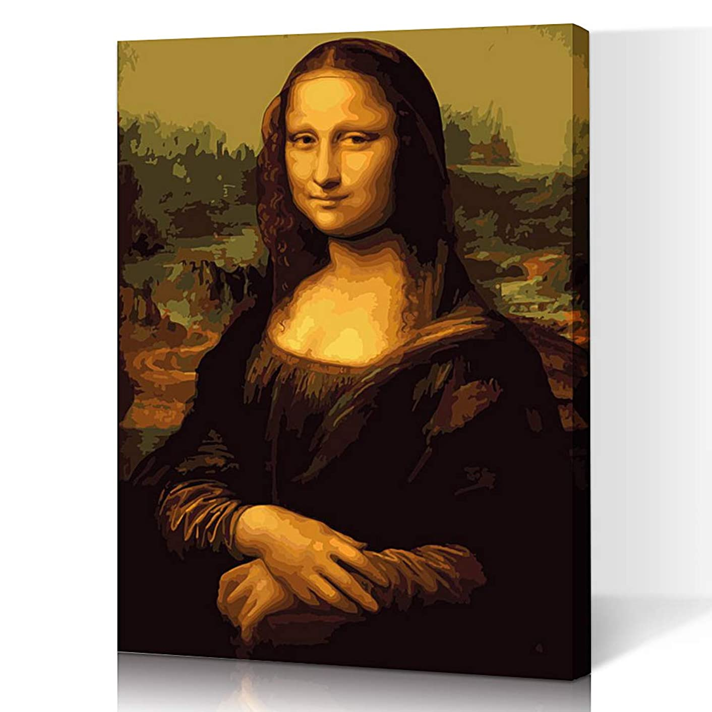 LIUDAO Mona Lisa Oil Painting on Canvas Paint by Number Kit - Include 3 Brushes and Acrylic Paint Wooden Frame Ready to Hang (16x20 inch)