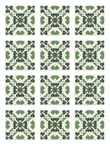 Panorama Azulejos Adhesivos Cocina Baño Pack de 24 Baldosas de 20x20 cm Hidráulico Oriental Mosaico Verde - Vinilos Cocina Azulejos - Revestimiento de Paredes - Cenefas Azulejos Adhesivas