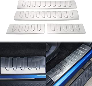 JUNLELI Car Door Entry Guard Sill Scuff Plate Protective Welcome Pedal for Ford F150 2015+ Stainless Steel Inner Threshold Strips Accessories(Pack of 4)
