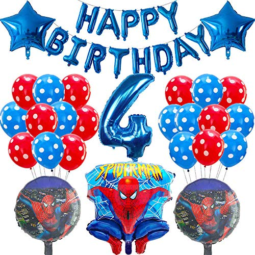 ENXI Globos 39PCS Spiderman Foil Helium Globos Rojo Azul Número Balloon Hero Cumpleaños Decoración Decoración Niños Juguetes Air Globos Boy Supplies ( Color : Mint Green )