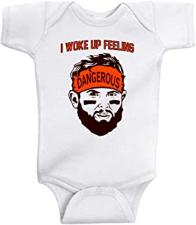 Personalized option Baby/Toddler Baker Mayfield fan bodysuit or t-shirts, I woke up feeling Dangerous, long/short sleeve options, Add beanie option, personalize with name and number option