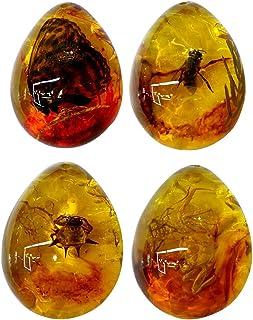 Vosarea Bernstein Fossil con Insekten Piedras Preciosas ámbar Handstein Taschenstein Handschmeichler Collection Oval Seguidores de 4 Unidades (Zufälliges Modelo)