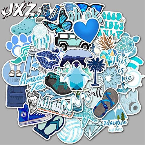 50 pegatinas de estilo fresco azul para coche, pegatinas de viaje, pegatinas para maleta del patinete, pegatinas de anime, pegatinas para bicicleta, monopatín, 50 unidades