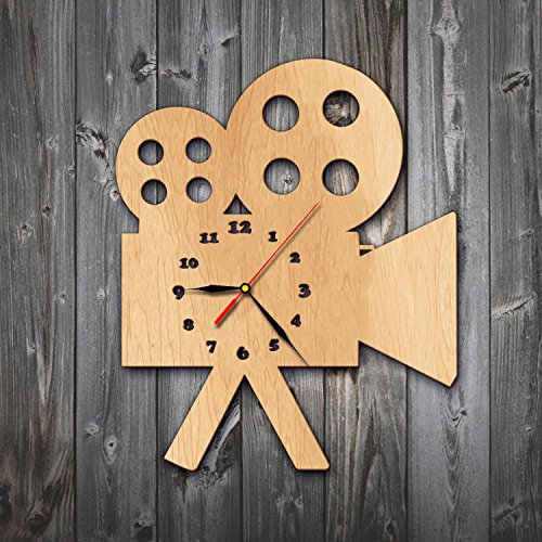 Video Camera Picture Lover Gift Cute Funny Baby Life Wood Wall Clock - Decorate your home with Nature Safari Wild Art - Best gift for girl and boy, kids and family - Win a prize for feedback