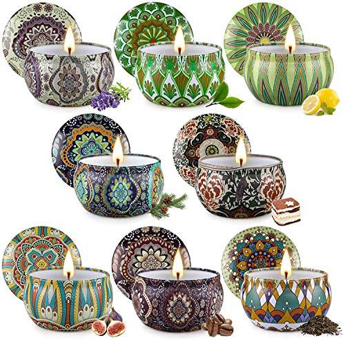 Velas Juego de Regalo de 8 Velas perfumadas para Mujeres, Velas de Soja para el hogar,Velas 3 oz para Hombres,Juego de Velas de Regalo de cumpleaños para el día de San Valentín