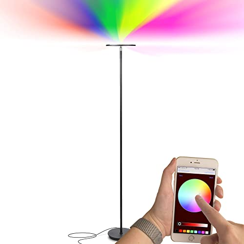 Brightech Kuler Sky - Color Changing Torchiere LED Floor Lamp - Dimmable Light - Remote Control via iOs & Android App - Lamp for Living Rooms, Game Rooms & Bedrooms - Adjustable Pivoting Head - Black