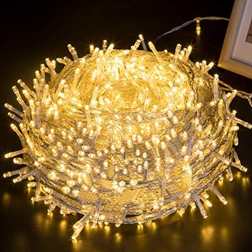 GlobaLink LED Lichterkette Außen, 100M 1000LEDs Lichterkette Weihnachtsbeleuchtung IP44 mit Stecker 8 Modi & Memory-Funktion für innen und außen Weihnachten Hochzeit Party Garten Deko-Warmweiß