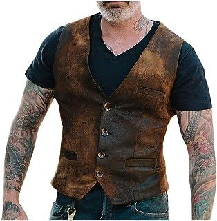 Aiserkly Retro vest voor heren, enkelrij, klassiek bruin leren vest, vrijetijdsvest, bikervest, jachtvest, vissersvest