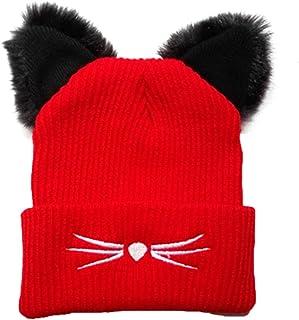 NW 1776 Women's Hat Cat Ear Crochet Braided Knit Caps Warm Snowboarding Winter (Red)