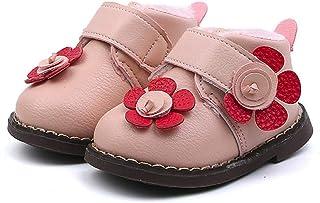 Botas Bebé Invierno de Niñas Más Terciopelo de PU de Flores Zapatos de Bebé Botines Calentar Acogedor Niñas Botines Infantiles Suela de Goma Primeros Pasos Zapatos