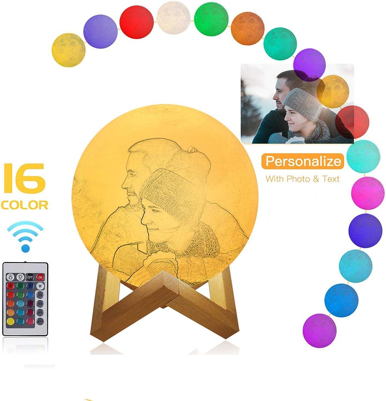 Gravierte Mondlampe, 16 Farben 3D-Druck Photo & Text Light mit Holzstnder, Touch & Fernbedienung Dekorative Mondlampe mit USB Wiederaufladbare dekorative Baby-Nachtlicht Geburtstagstag