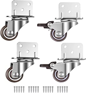 4X zwenkwielen, Meubelwielen, Wielen met rem, L-montageplaat 25mm, Geschikt voor meubels, Bloemstandaard, Wiegtuigen