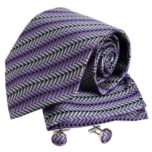 Y&G H5055 Gris motif cachemire soie cravate Boutons de manchette Mouchoir ??Set 3PT