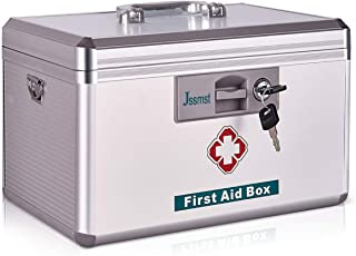 Jssmst Locking Medicine Box - New Version First Aid Box Emergency Medicine Case with Drugs Storage, 13.8 x 8.5 x 8.2 Inche...