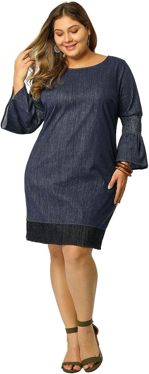 Agnes Orinda Women's Plus Size Denim Dress Contrast Color Smock Sleeves Chambray Midi Dresses
