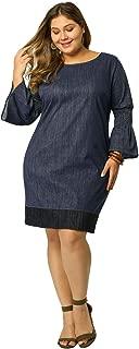 Women's Shift Dress Plus Size Loose Smock Chambray Denim Dresses