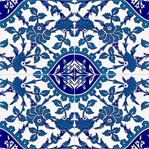 Cerames Erol- Azulejos de pared turcos multicolor, 1 paquete de 0,48 m2 (12 unidades), azulejos de cerámica Iznik con patrones, 20 x 20, ideal para la cocina o el cuarto de baño