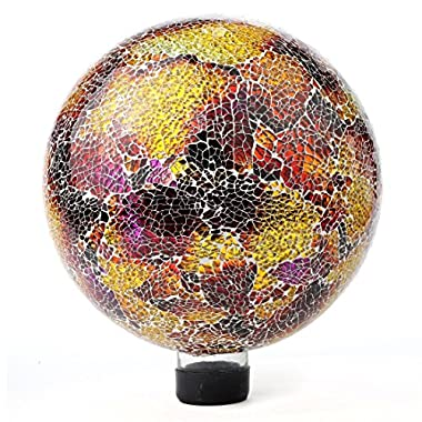 "Lily's Home Glass Gazing Ball | Holographic Effect, Stunning Rainbow Color Reflection Effect, Mosaic Design, Purple & Gold Mirrors, Attracts Good Fortune, Lovely Centerpiece, 10"" Dia."