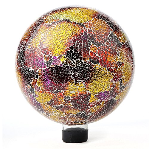 "Lily's Home Colorful Mosaic Glass Gazing Ball, Designed with a Stunning Holographic Crackle Mosaic Pattern to Bring Color and Reflection to Any Home and Garden, Purple and Gold (10"" Diameter)"