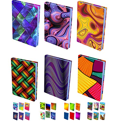 InstyleCraft Stretchable Fabric Book Cover-6 N1-Pattern Prints, for Medium to Jumbo Size Schoolbooks Hardcover,Textbooks, FITS Most Books Covers up to 9 x 11 Inches, No Adhesive, Reusable New Designs