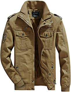 H.T.Niao Imported Jacket for Men Winter Camouflage Military Design Army Style Cotton Casual Slim Fit Stand Collar Coat Latest Fashion (J9939 Khaki_$P_Khaki)