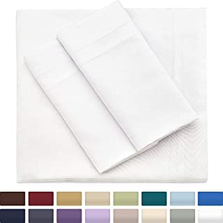 Cosy House Collection Premium Bamboo Sheets - Deep Pocket Bed Sheet Set - Ultra Soft & Cool Bedding - Hypoallergenic Blend from Natural Bamboo Fiber - 4 Piece - King, White