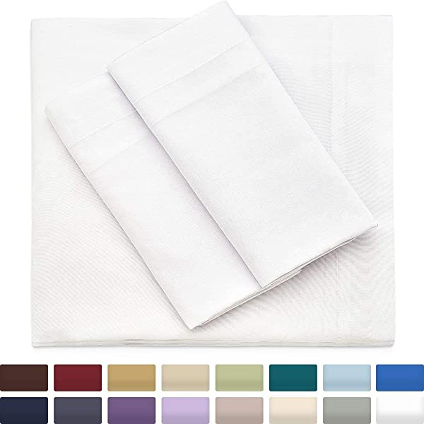 Cosy House Collection Premium Bamboo Sheets Deep Pocket Bed Sheet Set Ultra Soft Cool Bedding Hypoallergenic Blend From Natural Bamboo Fiber 4 Piece King White