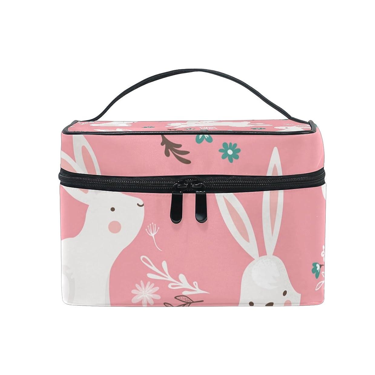 正確さあいまいさ青ALAZA 化粧ポーチ 兎柄 うさぎ柄 化粧 メイクボックス 収納用品 ピンク 大きめ かわいい