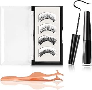 Magnetic Eyelashes with Eyeliner, No Glue 2 Styles Reusable 3D Magnetic False Lashes and Waterproof Upgraded Magnetic Eyeliner with Applicator for Party Dating Wedding (4 PCS)