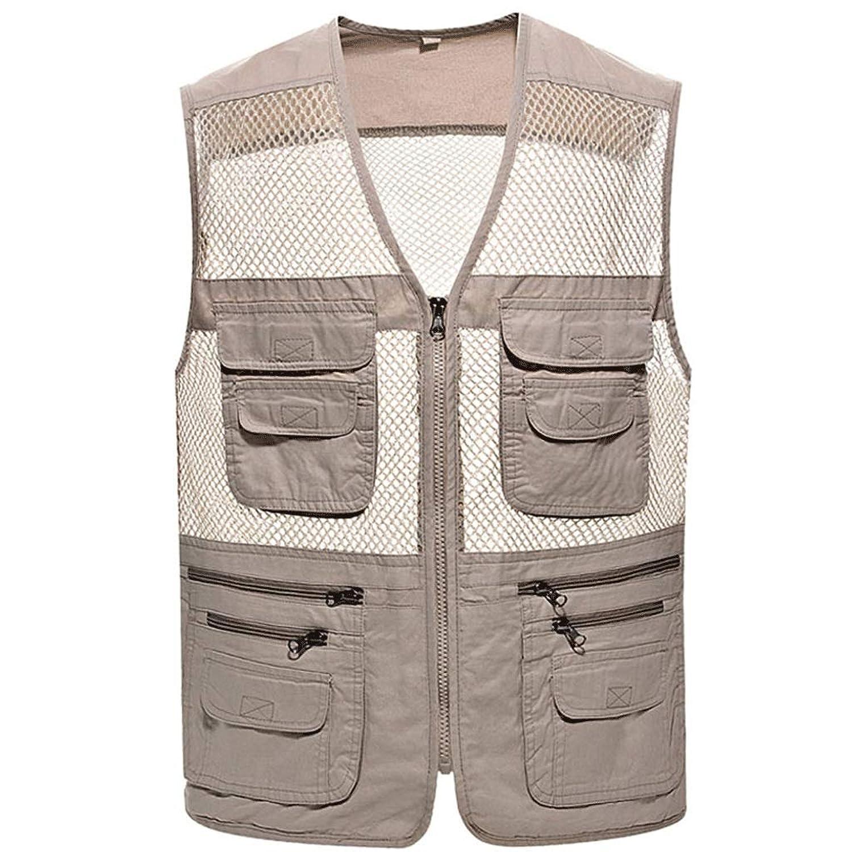 ポケットベスト中年男性の春と夏の薄い釣りのベストメッシュベスト屋外マルチポケットベスト (色 : Rice gray, サイズ さいず : 2XL)