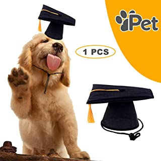 DAGEDA Pet Graduation Caps Grad Hat Pet Costume, Small Dog Graduation Hats with Gold/Yellow Tassel for Dogs and Cats Holiday or Decorations Party, Costume Accessory(Black)