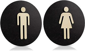 Toiletbord zwart hout toiletbord toilet deurbord dames heren (Ø 24cm, dames + heren)