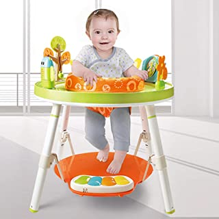 Adjustable Foldable Toddler Walker with Padded Seat OKBOP Baby Walkers and Activity Center with Wheels Putter Blue 3-in-1 Sit-to-Stand Infant Table Chairs Set with Sound Lights Rabbit Toys