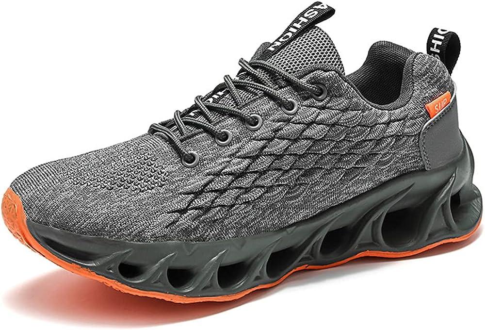 Zapatos para Correr De Moda Zapatos Deportivos para Hombres Tenis para Caminar Antideslizantes CóModos Zapatos De AbsorcióN De Impactos De Cuchilla Zapatos Deportivos Negros 39-47