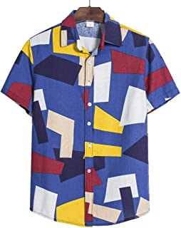 Men's Floral Casual Button Short Sleeve Hawaiian Shirt Large Men's Beach Vacation Shirt (Color : A, Size : 4XL)