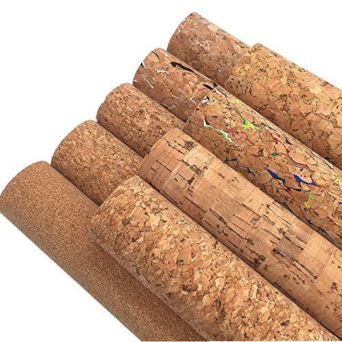 ZAIONE Weiche Naturfarbe Echt Kork Leder Blätter 9 Stück 20 cm x 30 cm dünn leicht Leder Stoff Handwerk für Handtaschen, Geldbörsen, Schuhe, Material DIY Handwerk (Paket 1)