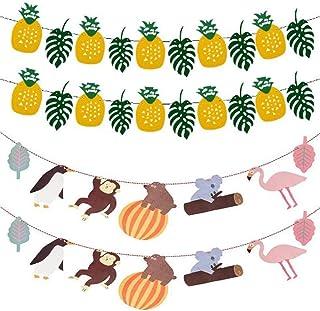 4 Piezas Banner de Decoración de Fiesta, Pancartas de Hoja de Piña Hawaiana/Banner Animal de Dibujos Animados, Pancartas de Cumpleaños, para Fiestas de Verano, Decoración de Fiestas Temáticas