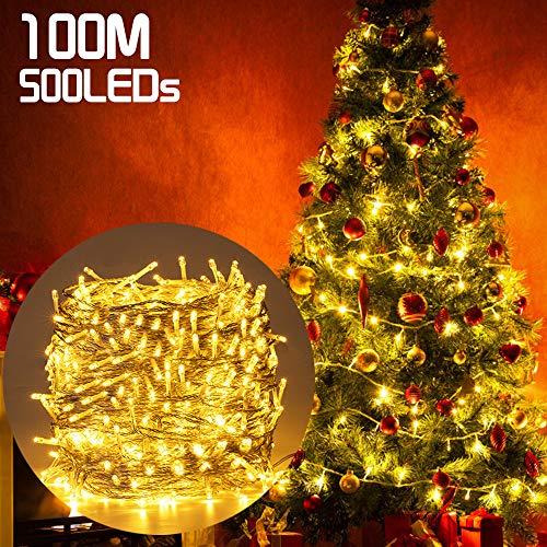500LED 100M Guirnald Luces San Valentín, Ulinek Luces Decoracion Impermeable Función de Memoria y 8 Modos de...