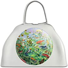 Colorful Rainforest Tree Frogs Just Hanging Around White Metal Cowbell Cow Bell Instrument