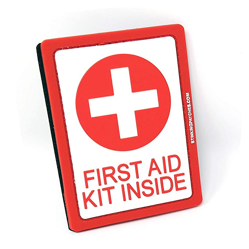 First Aid Kit Inside PVC Tactical Patch   Red and White
