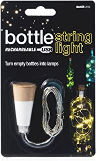 Suck UK Official Rechargeable USB LED String Bottle Light Reusable Table/Home Decoration, White