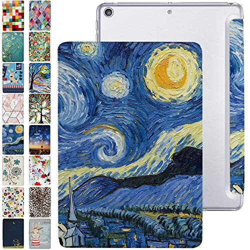DuraSafe Cases for iPad 10.2 9 Gen 2021 8 Gen 2020 iPad 7 Gen 2019 [ iPad 9th 8th 7th ] Trifold Printed PC Lightweight Protective Clear Back Cover – Starry Night