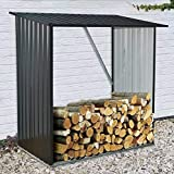Hanover HANWDSHD-Gry Holds up to 55 CU. FT. of Stacked Indoor/Outdoor Galvanized Steel Firewood Storage Rack, 5 ft. x 3 ft. x 5 ft, Dark Gray