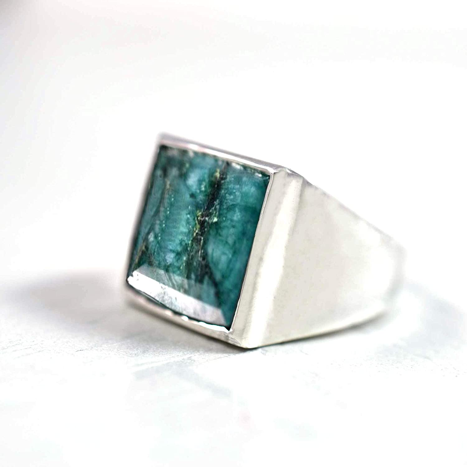 Raw Emerald Silver Ring Green Sterling Co 25% OFF 925 Sale special price