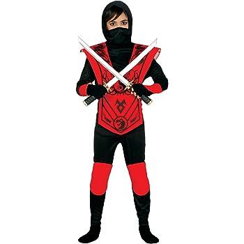 Guirca - Disfraz de ninja, para niños de 5-6 años, color rojo y ...