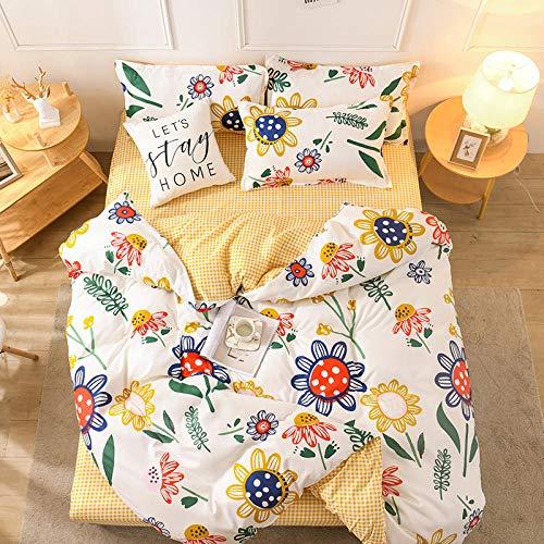 Saludable Funda Nórdica Colcha Flor Amarilla del Sol 200x200cm Microfibra Hipoalergénica Suave Transpirable Multicolor Estampado de Dibujos Animados
