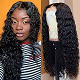Fuduete Deep Wave Lace Front Wigs Human Hair 150% Density 4x1 T Part Deep Curly Lace Closure Wigs for Black Women Pre Plucked with Baby Hair Natural Color(4x1 T Part Deep Wig, 20Inch)