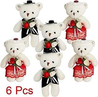 Sealive 6 Pcs Small Teddy Bears Bulk, Bride and Groom Wedding Teddy Bears, Plush Stuffed Animals Mini Teddy Bear Party Supplies Decoration, Great Gift Toys for Valentine, Christmas Stocking Stuffers