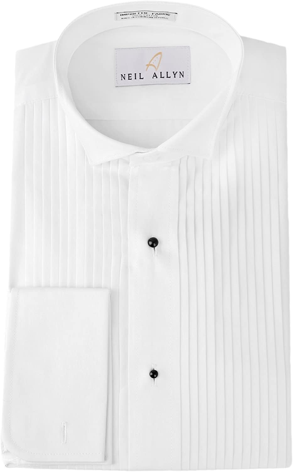 Neil Allyn Tuxedo Shirt 100% Cotton Wing Collar with French Cuffs